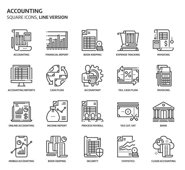 Accounting, square icon set Accounting, square icon set. The illustrations are a vector, editable stroke, thirty-two by thirty-two matrix grid, pixel perfect files. Crafted with precision and eye for quality. accountancy stock illustrations