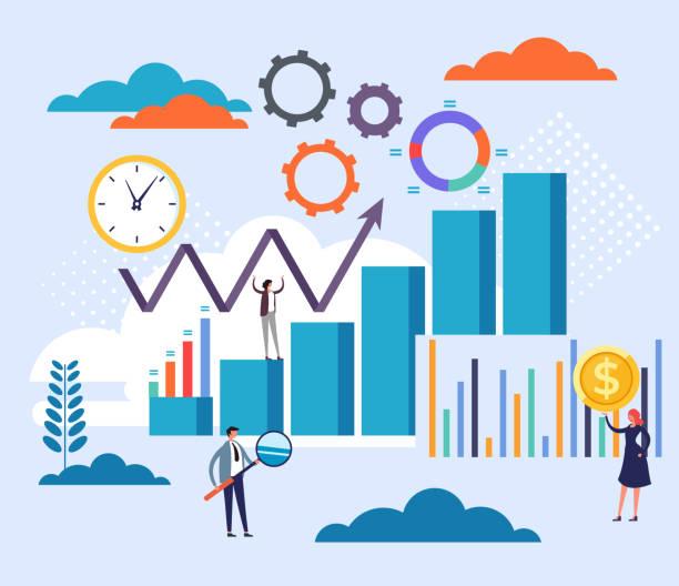Buchhaltungsstatistik-Management-Konzept. Vektor flache Cartoon Grafik-Design-Illustration – Vektorgrafik