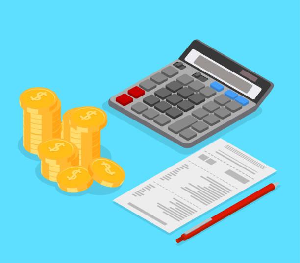 illustrazioni stock, clip art, cartoni animati e icone di tendenza di accounting, taxes and financial calculation. isometric illustration. - calcolatrice
