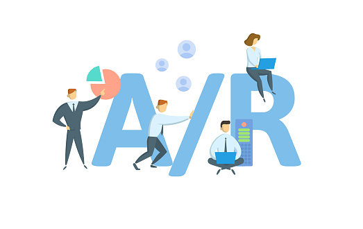 A/R, Accounts Receivable. Concept with keywords, people and icons. Flat vector illustration. Isolated on white background.