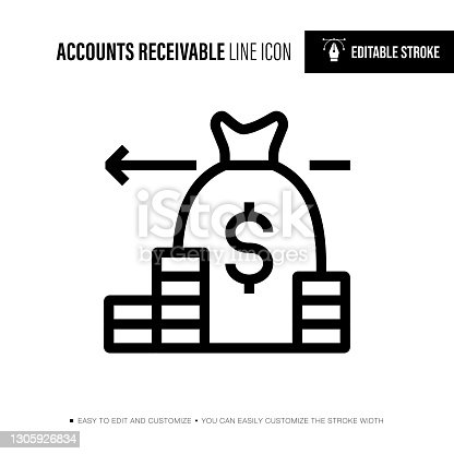 istock Accounts Receivable Editable Stroke Single Icon 1305926834