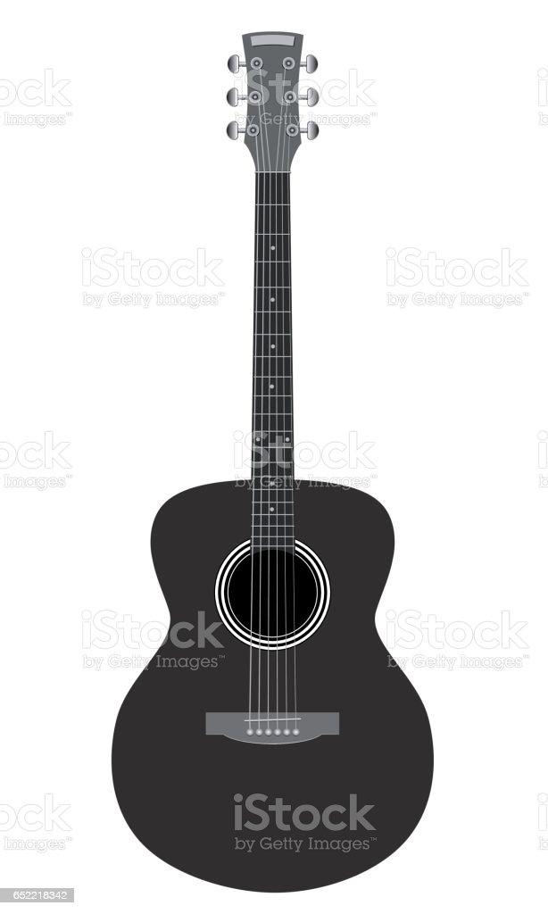 Accoustic guitar on white background vector art illustration