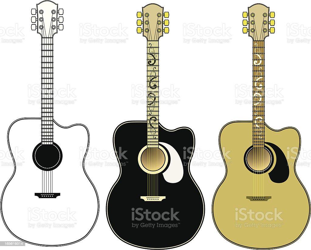Accoustic guitar vector set vector art illustration