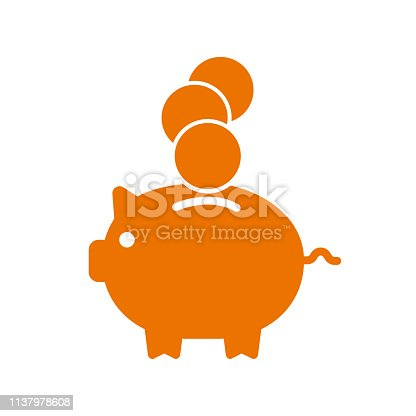 Accumulation money, savings, pig with coin icon - stock vector