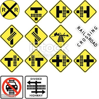 Based on the Federal Highway Administration regulations - these are some of the official railroad crossing signs in vector format - built using the precise specifications for the actual signs you see on the road!