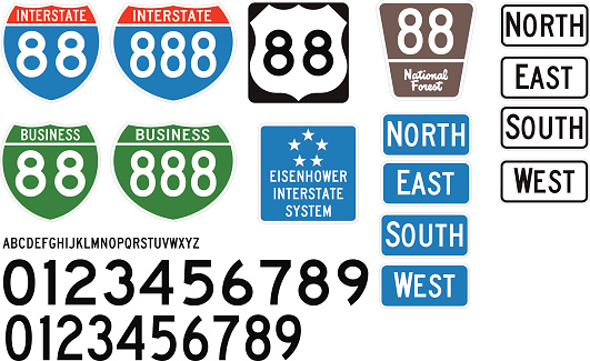 Built using the Federal Highway Administration specifications, these are some of the official style of signs used on US Highways and Interstates.  Included is the correct vectored lettering and numbers (Free fonts are available that match official guidelines - Roadgeek is one of them).