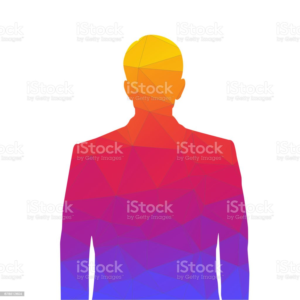 Accurate silhouette of a man from colored triangles for profile picture. Silhouette of a man waist-deep with a neat hairstyle on white background vector art illustration