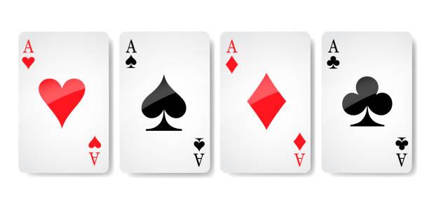 ass-karte anzug symbol vektor, spielkarten symbole, vektor, symbol festlegen symbol anzug, karte anzug symbol zeichen, symbol - lager vektor-illustration - kartenspielen stock-grafiken, -clipart, -cartoons und -symbole