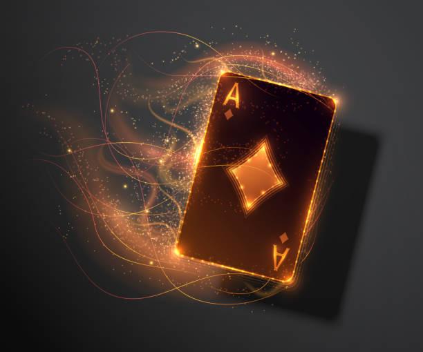 ass-karte mit feuereffekt, poker casino abbildung. vektor-illustration. - holzdeck stock-grafiken, -clipart, -cartoons und -symbole