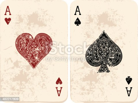 Set of two vintage playing cards.Ace of Hearts & Ace of Spades. Vector illustration. EPS10, Ai10, PDF, High-Res JPEG included.