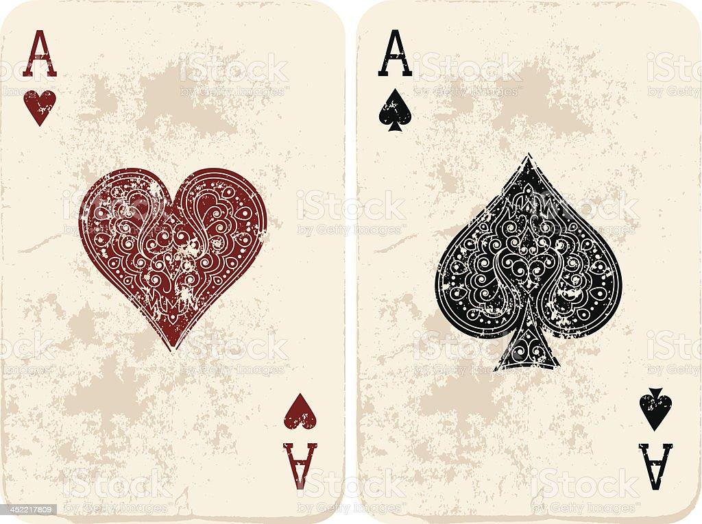 Ace of Hearts & Spades vector art illustration