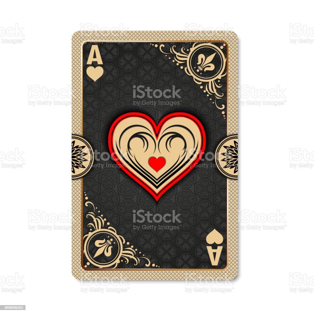 Ace of hearts. vector art illustration