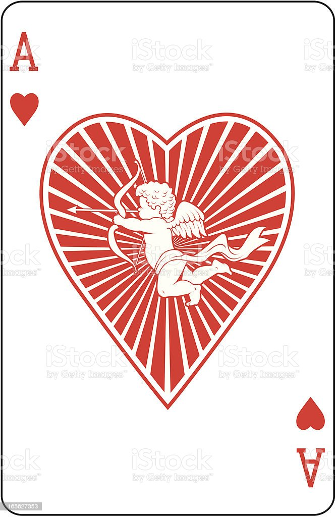 Ace of Hearts with cupid playing card vector art illustration