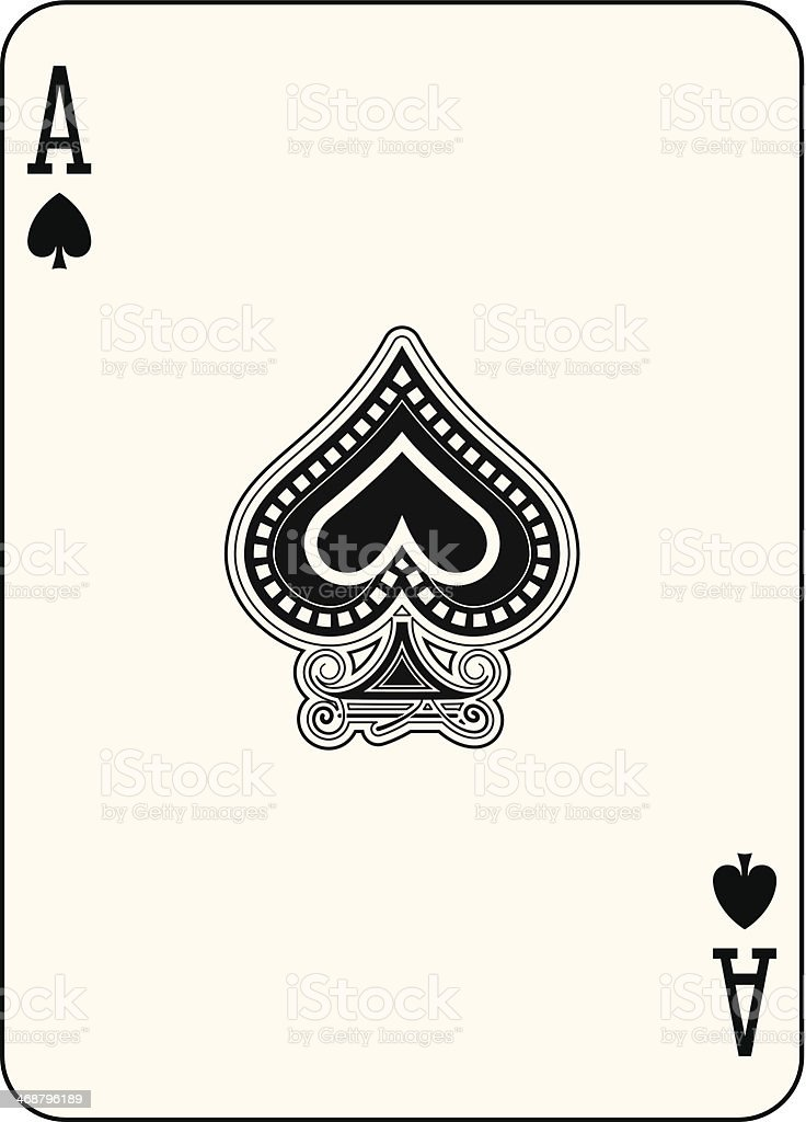 Ace of spade playing card in full screen vector art illustration