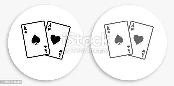 Ace of Spades and Hearts Black and White Round Icon. This 100% royalty free vector illustration is featuring a round button with a drop shadow and the main icon is depicted in black and in grey for a roll-over effect.