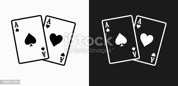 Ace of Spades and Hearts Icon on Black and White Vector Backgrounds. This vector illustration includes two variations of the icon one in black on a light background on the left and another version in white on a dark background positioned on the right. The vector icon is simple yet elegant and can be used in a variety of ways including website or mobile application icon. This royalty free image is 100% vector based and all design elements can be scaled to any size.
