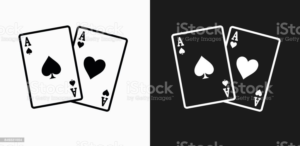 Ace of Spades and Hearts Icon on Black and White Vector Backgrounds vector art illustration