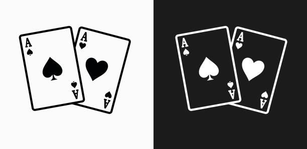 ace of spades und herz-symbol auf schwarz-weiß-vektor-hintergründe - kartenspielen stock-grafiken, -clipart, -cartoons und -symbole