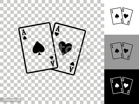 istock Ace of Spades and Hearts Icon on Checkerboard Transparent Background 1225148132