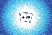 Ace of Spades and Hearts Icon on Internet Modern Technology Words Background. This blue vector background features the main icon in the center of the image. The icon is surrounded by a set of conceptual words and technology and internet icons. The icon is highlighted by a strong starburst glow effect and stands out from the rest of the image. The technology terminology is arranged in a circular manner. The predominant tone of the image is blue with a circular gradient that originates from the center of the composition.