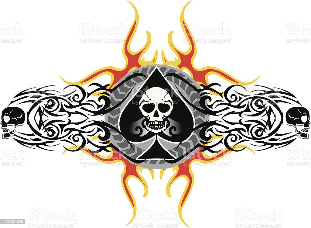 ace of spades and skulls royalty-free stock vector art