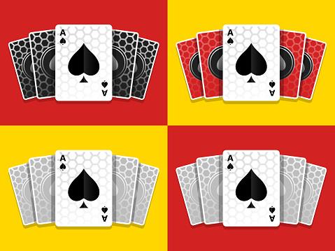 Set Ace Of Spades Cards Games Carbon Background Illustration
