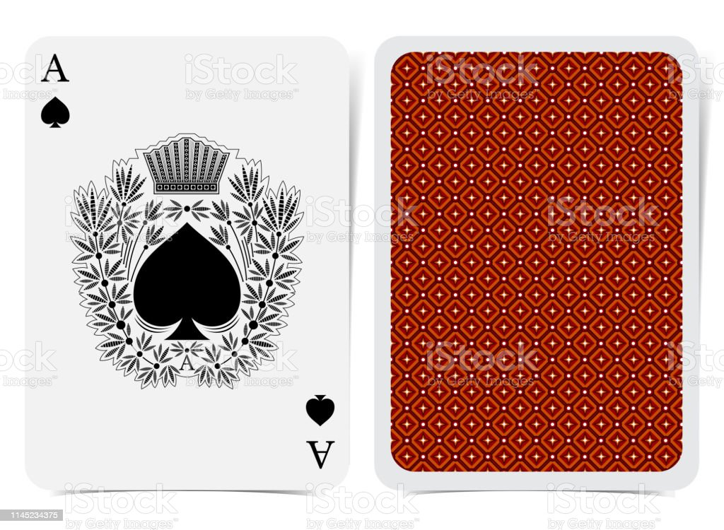 Ace of spades face and back with red suit. Vector card template