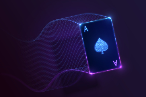 Ace of spades flying, glowing neon card with lights. Vector design