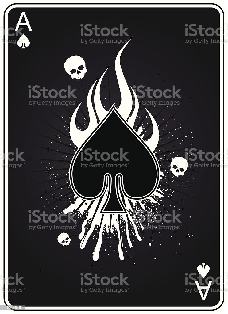 Ace Of Spades In Flames vector art illustration