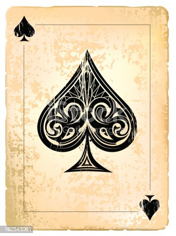 Ace of spades. Vintage style with dirty grunge elements. EPS 8 vector illustration. Layered. High res JPG included (300 dpi).