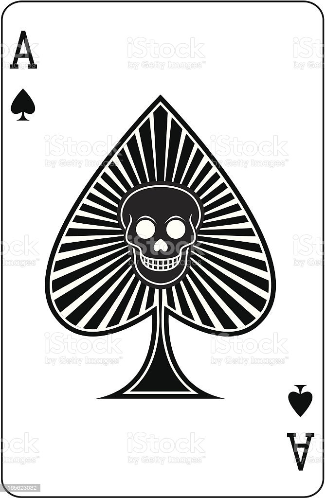 Ace of Spades with skull playing card vector art illustration