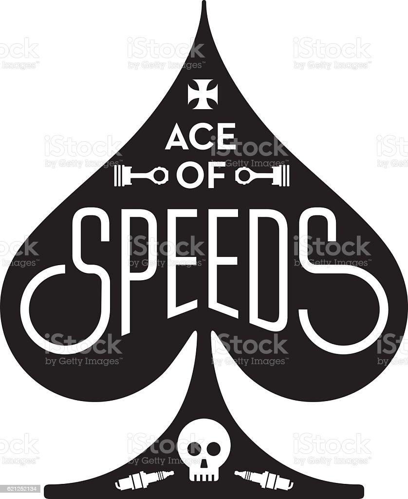 Ace Of Speeds motorcycle or car racing vector design vector art illustration