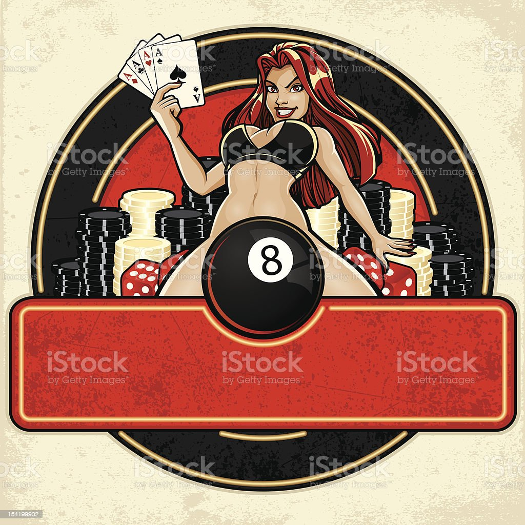 Aces High Casino Sign: Lady Luck Version royalty-free stock vector art