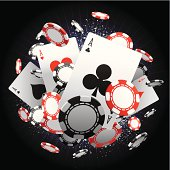 An explosion of poker chips and cards. Global colours are easily modified.