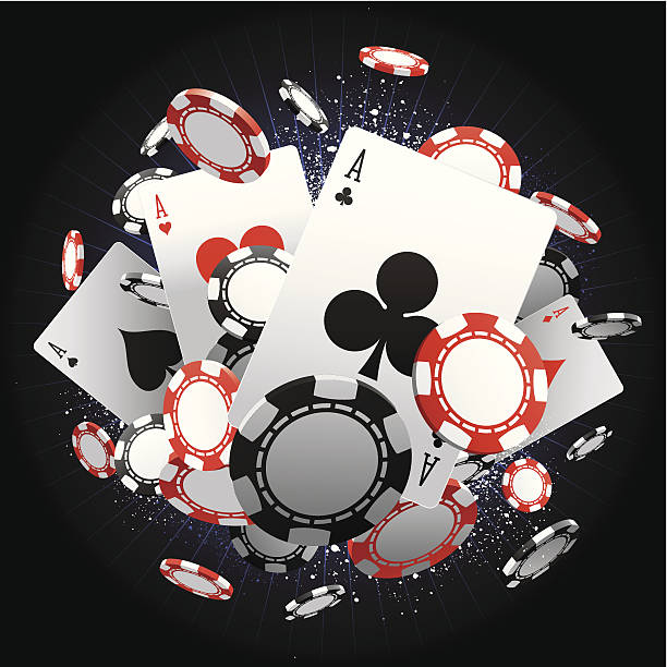 Aces An explosion of poker chips and cards. Global colours are easily modified. casino stock illustrations