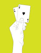 Outline illustration of a hand holding a pair of aces.