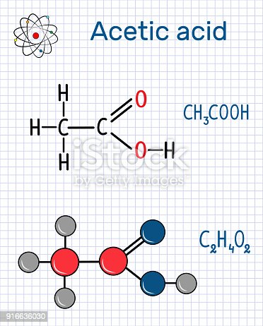 Acetic acid (ethanoic) molecule. Structural chemical formula and molecule model. Sheet of paper in a cage.Vector illustration