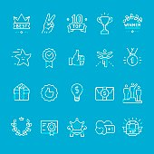 Achievement and Trophy, blueprint vector icons kit.