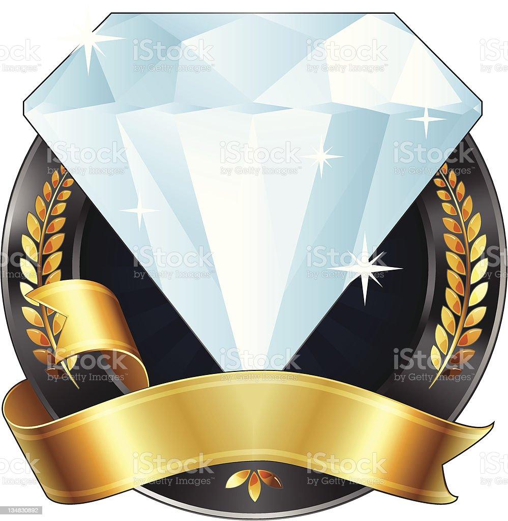 Achievement Award Diamond Jewel with Gold Ribbon, Vector Illustration. vector art illustration
