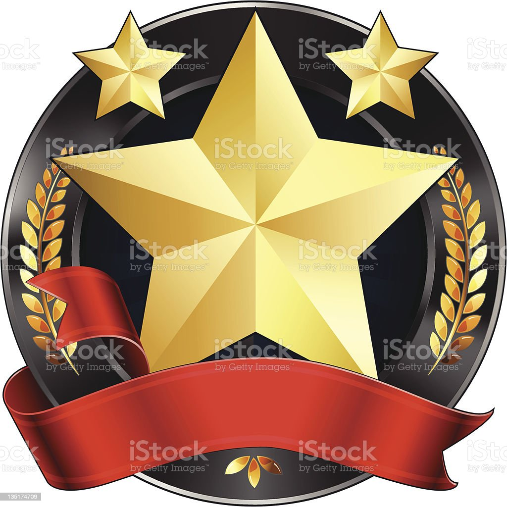 Achievement Award Star in Gold with Red Ribbon, Vector Illustration. vector art illustration