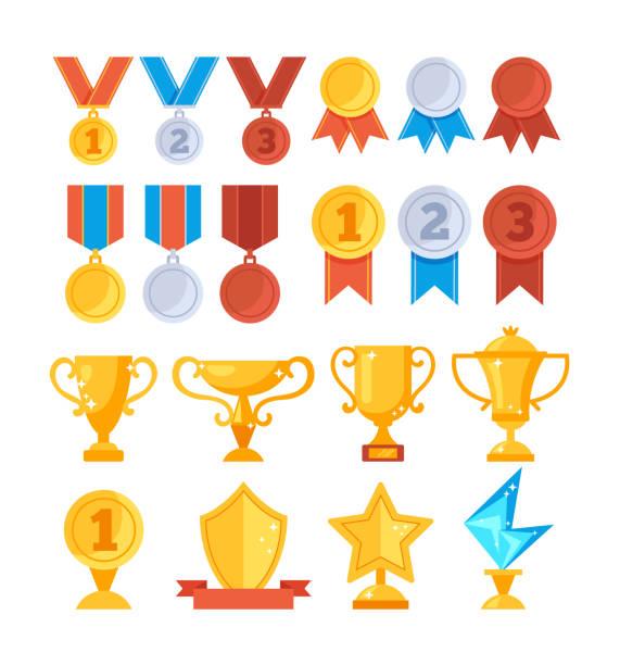 Erfolg Auszeichnung Trophäe goldene Cup Medaille Symbol set. Vektor flache Grafik-Design-Cartoon-Illustration – Vektorgrafik