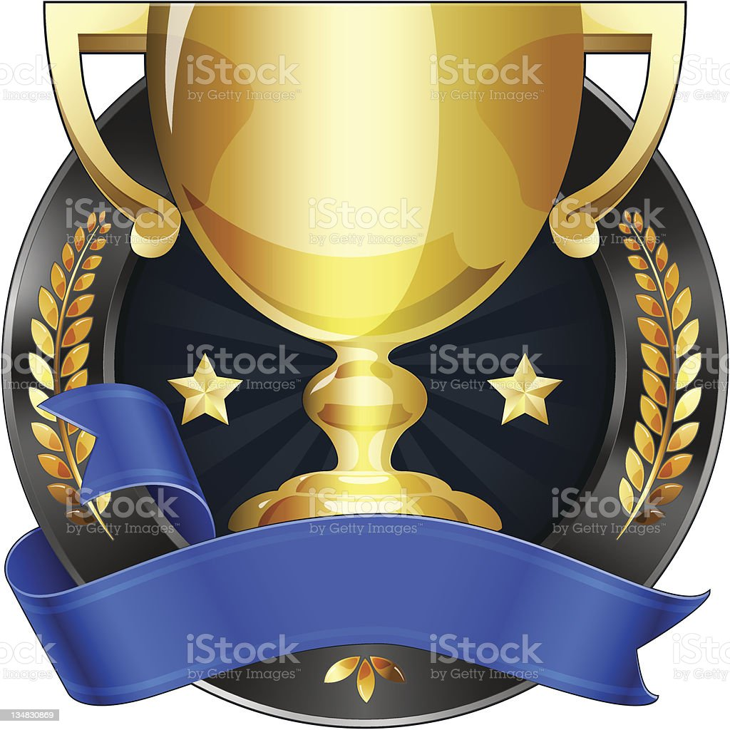 Achievement Award Trophy in Gold with Blue Ribbon vector art illustration