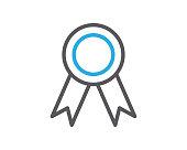 achievement badge line icon illustration vector,achievement badge icon illustration vector,achievement badge line website icon