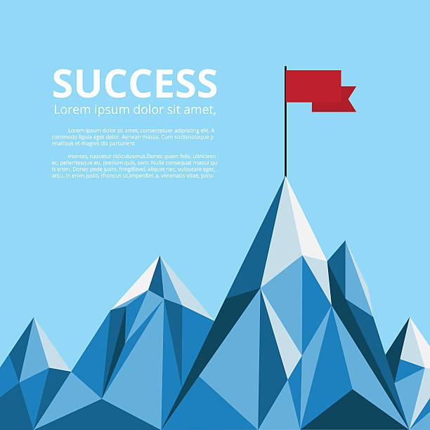 Achievement banner. Flag on top of mountain. Successful concept. - ilustración de arte vectorial