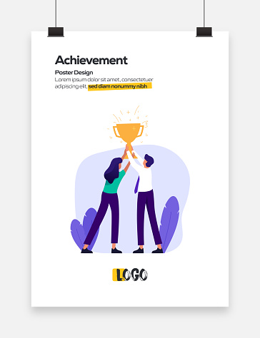 Achievement Concept Flat Design for Posters, Covers and Banners. Modern Flat Design Vector Illustration.