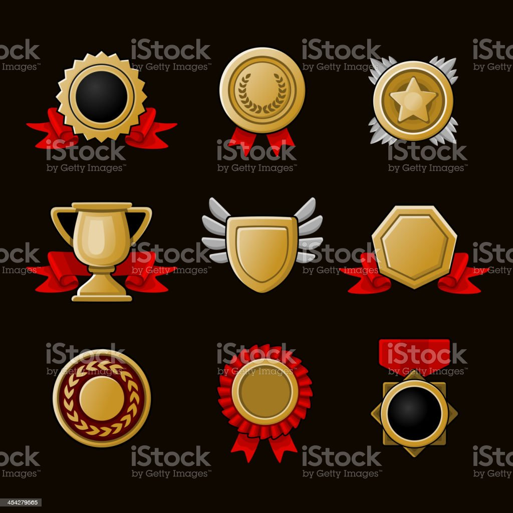 Achievement icons set royalty-free stock vector art