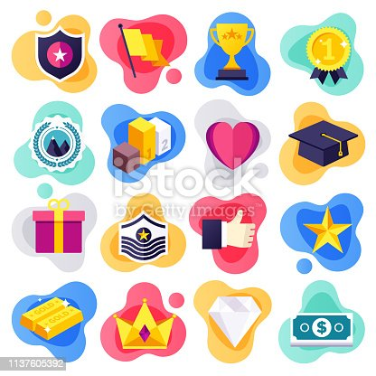 Achievement of life goals liquid flat flow style concept symbols. Flat design vector icons set for infographics, mobile and web designs.