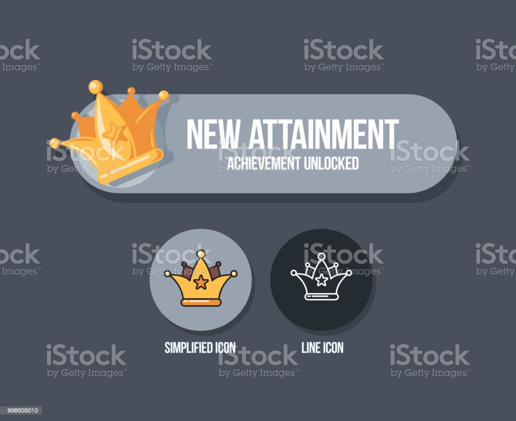 Achievement Panel Design Attainment Banner Concept With Crown Reward Icon In Cartoon Style Royalty
