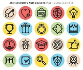 Line icons set of achievements, awards and objects.