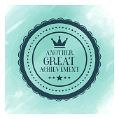 Vector achievements badge design over watercolor background.